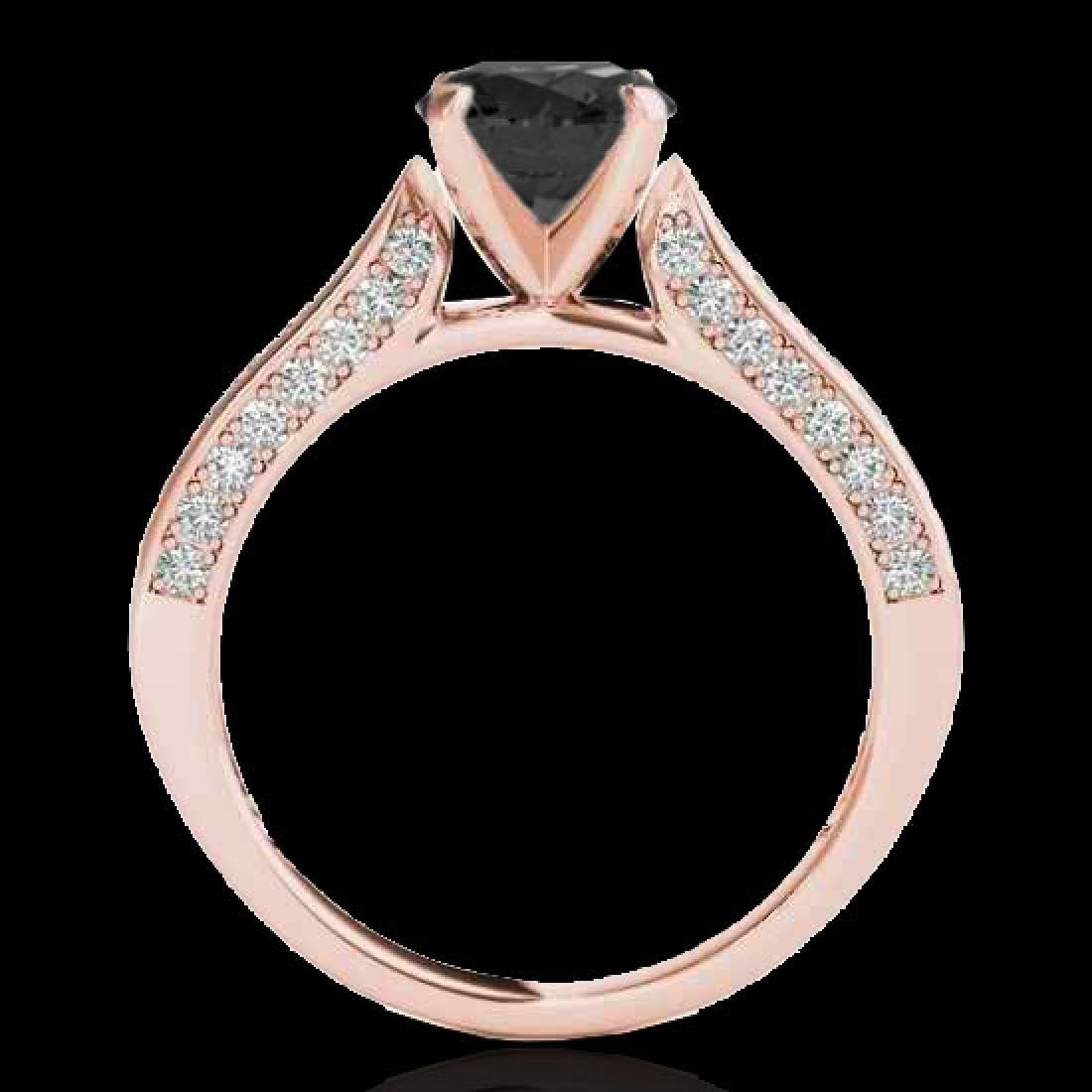 1.6 CTW Certified VS Black Diamond Solitaire Ring 10K - 2