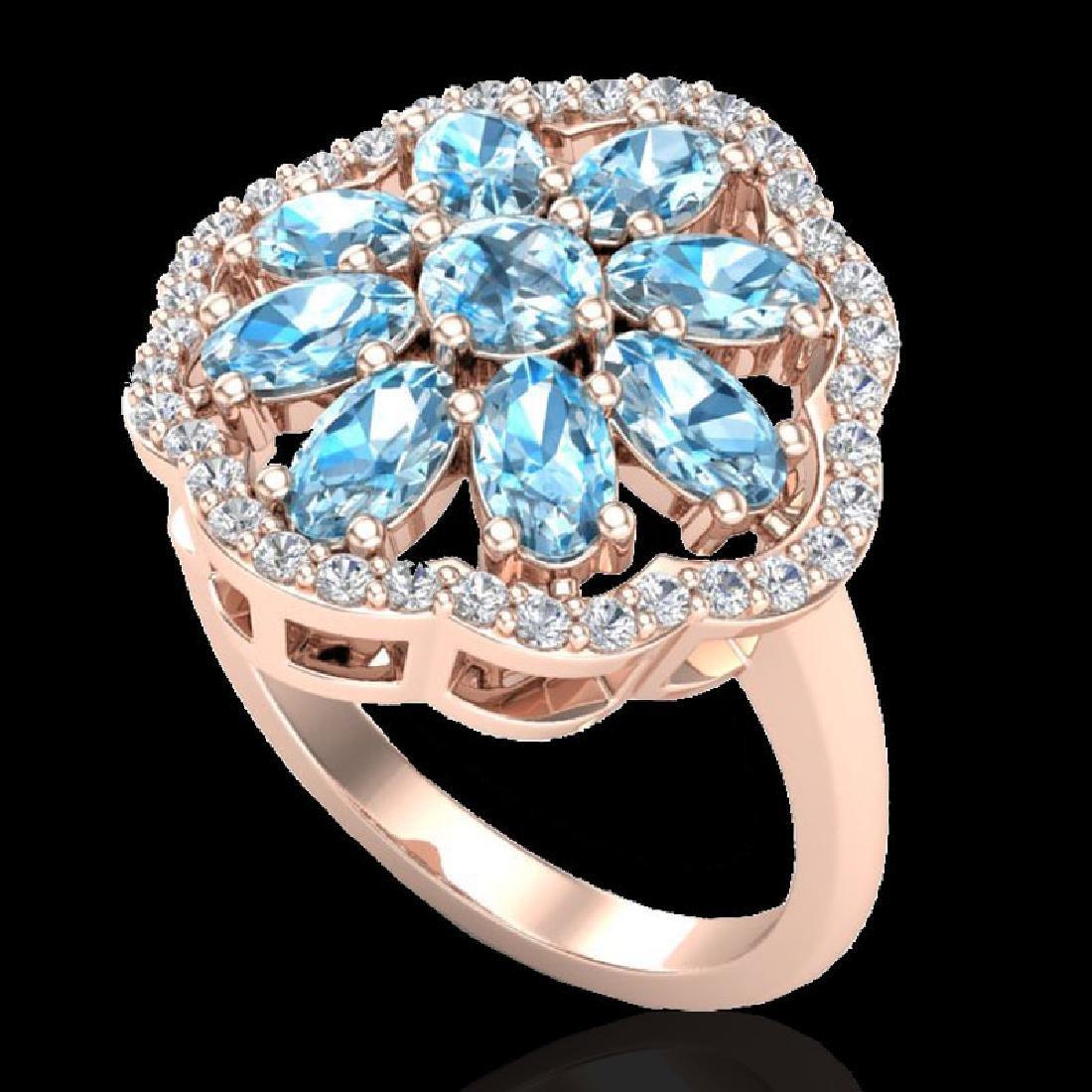 3 CTW Sky Blue Topaz & VS/SI Diamond Cluster Halo Ring