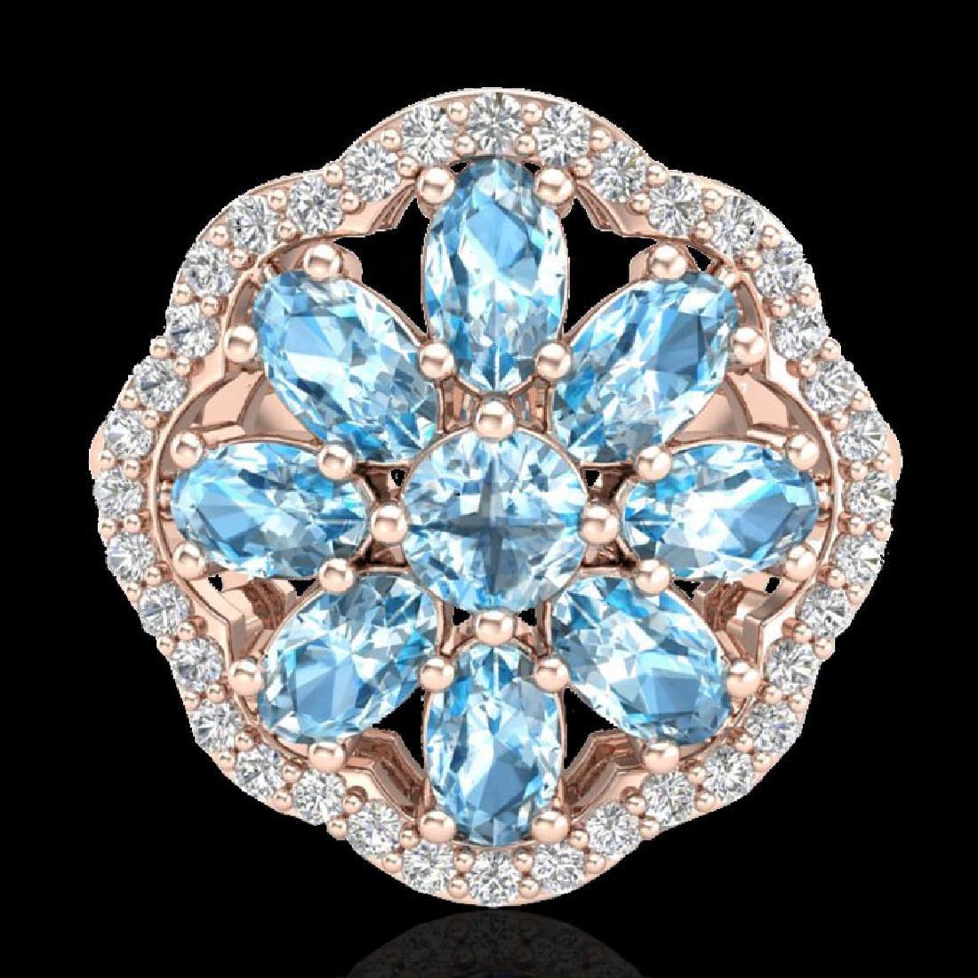 3 CTW Sky Blue Topaz & VS/SI Diamond Cluster Halo Ring - 2