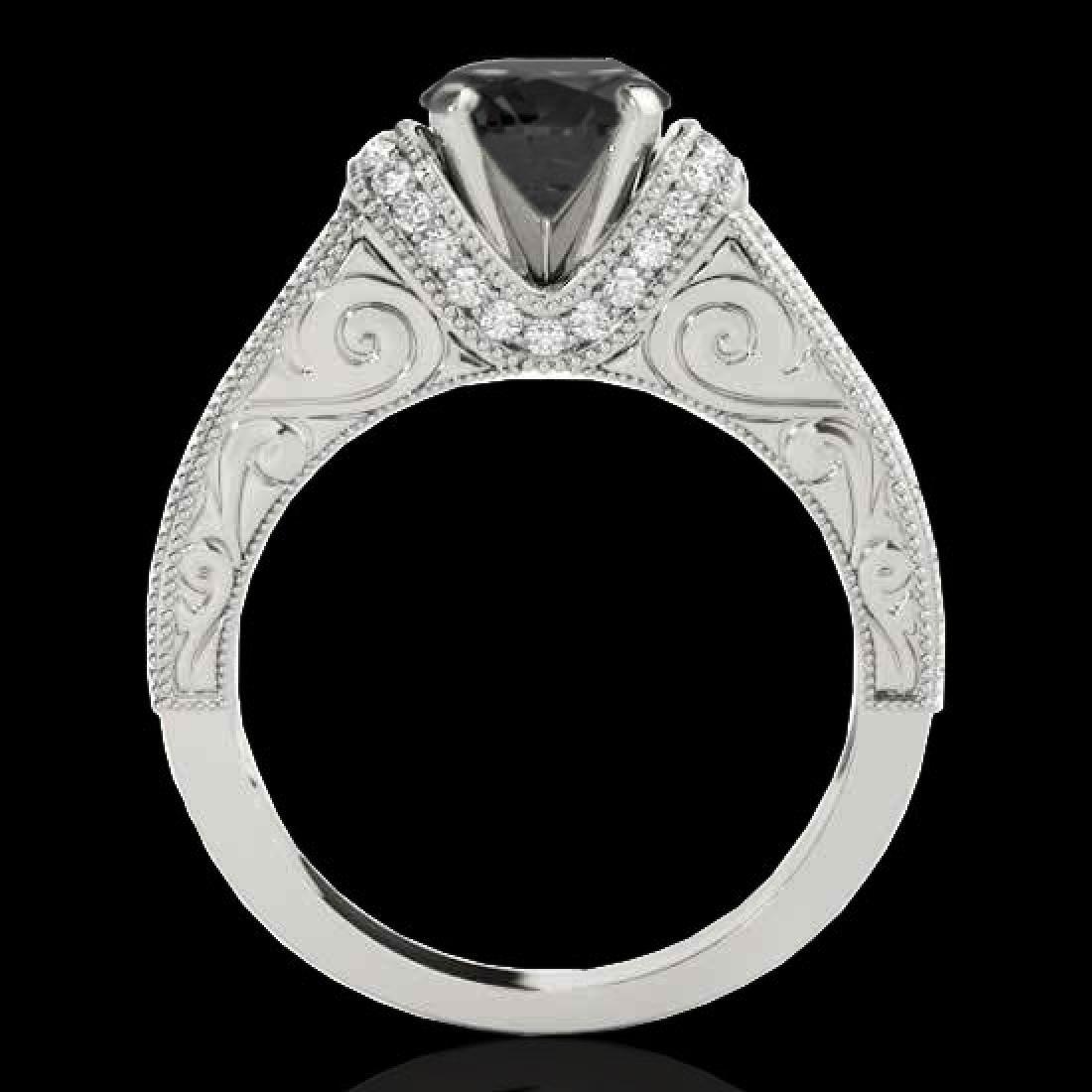 1.75 CTW Certified VS Black Diamond Solitaire Antique - 2