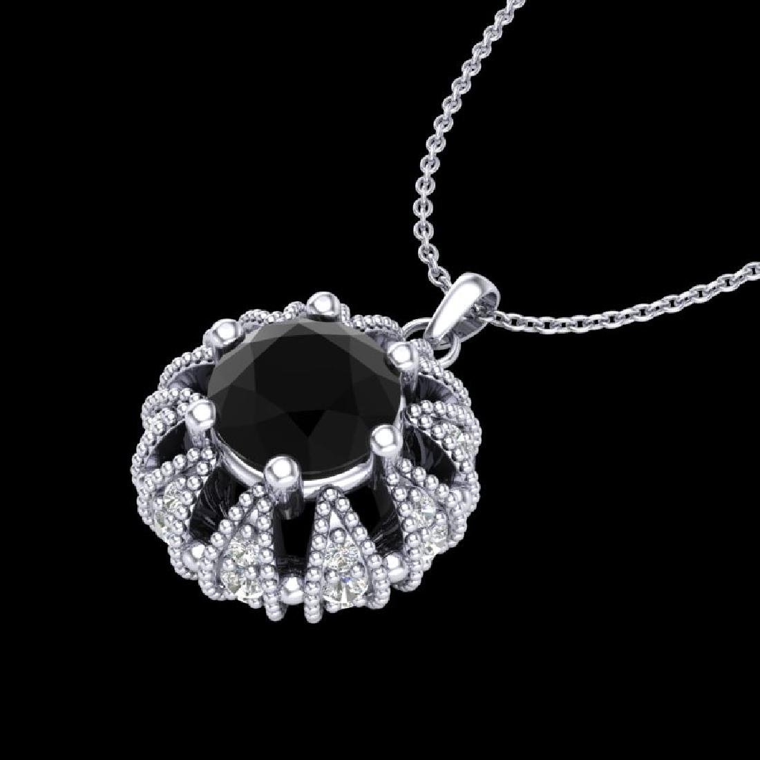 1.2 CTW Fancy Black Diamond Art Deco Micro Pave Stud - 2