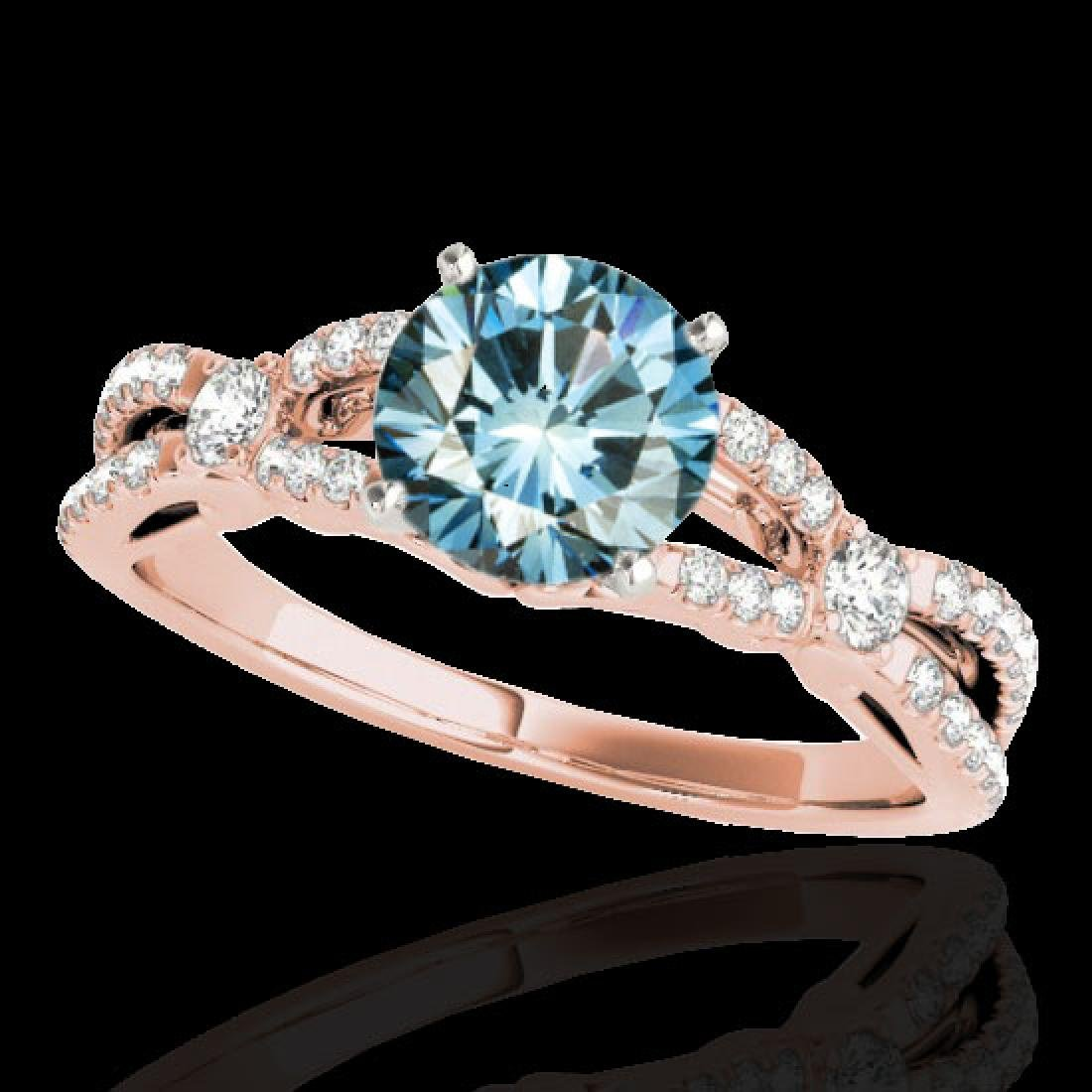 1.35 CTW SI Certified Fancy Blue Diamond Solitaire Ring
