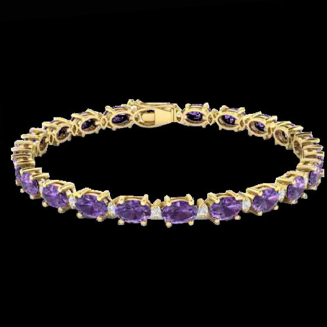 12 CTW Amethyst & VS/SI Diamond Eternity Bracelet 10K - 2