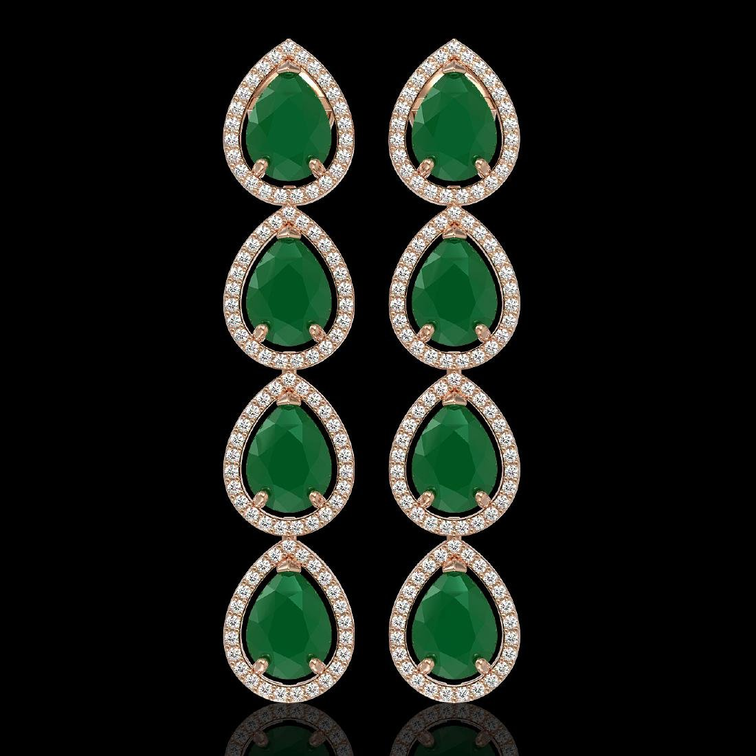 16.01 CTW Emerald & Diamond Halo Earrings 10K Rose Gold
