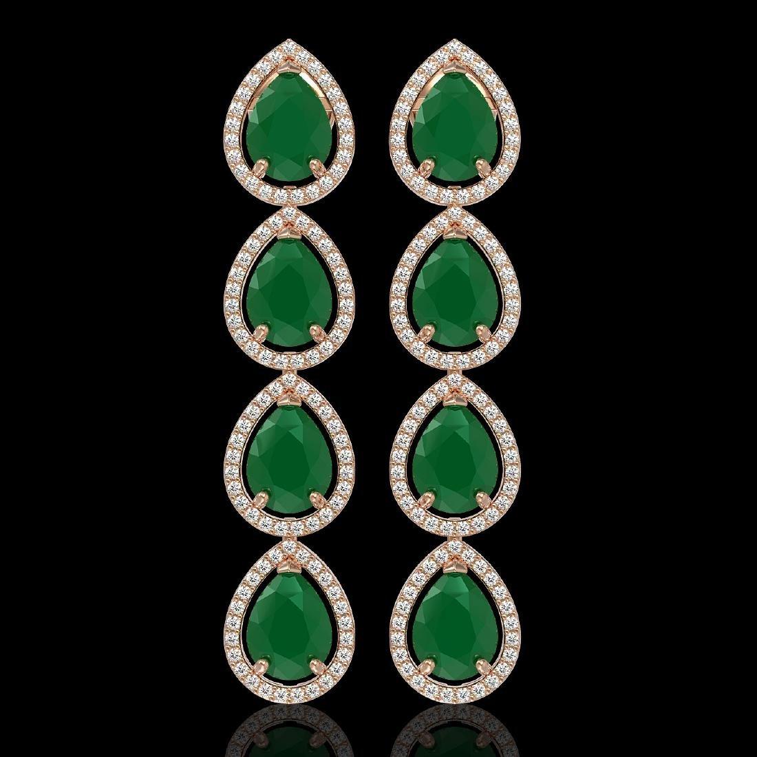 16.01 CTW Emerald & Diamond Halo Earrings 10K Rose Gold