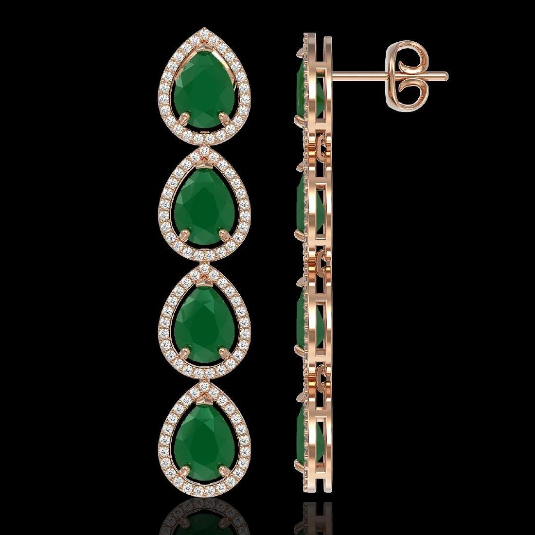 16.01 CTW Emerald & Diamond Halo Earrings 10K Rose Gold - 2