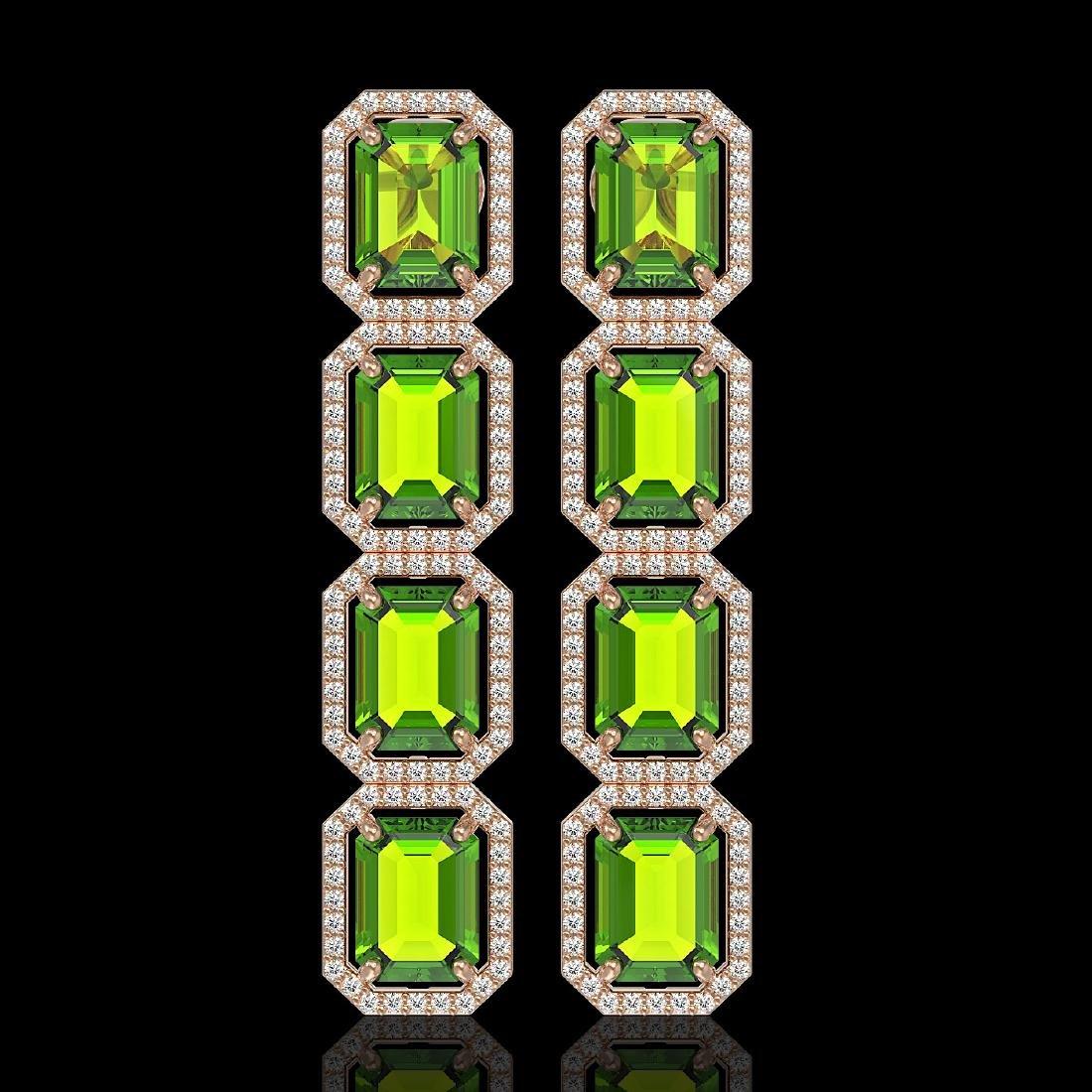17.81 CTW Peridot & Diamond Halo Earrings 10K Rose Gold