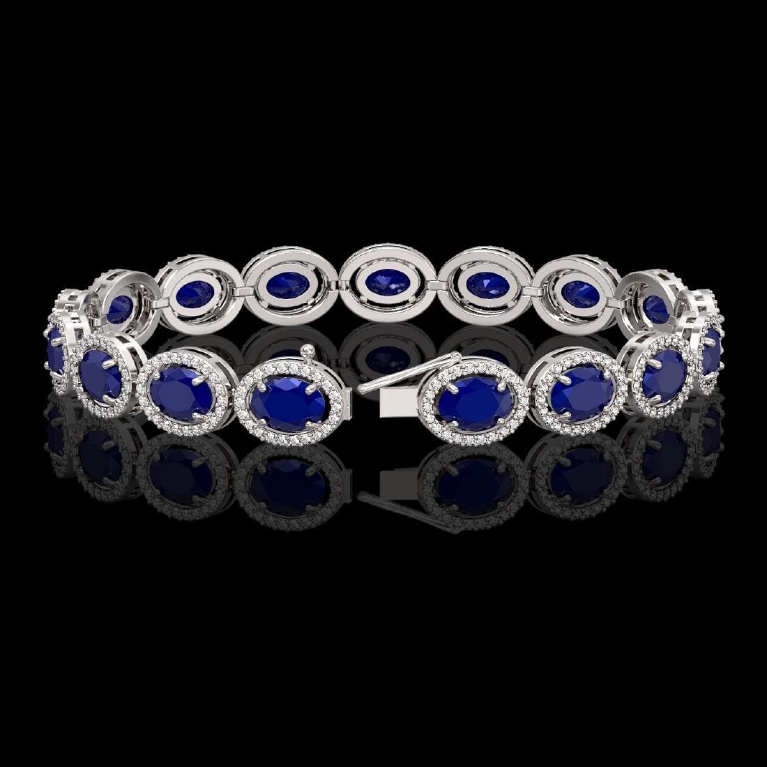22.89 CTW Sapphire & Diamond Halo Bracelet 10K White - 2