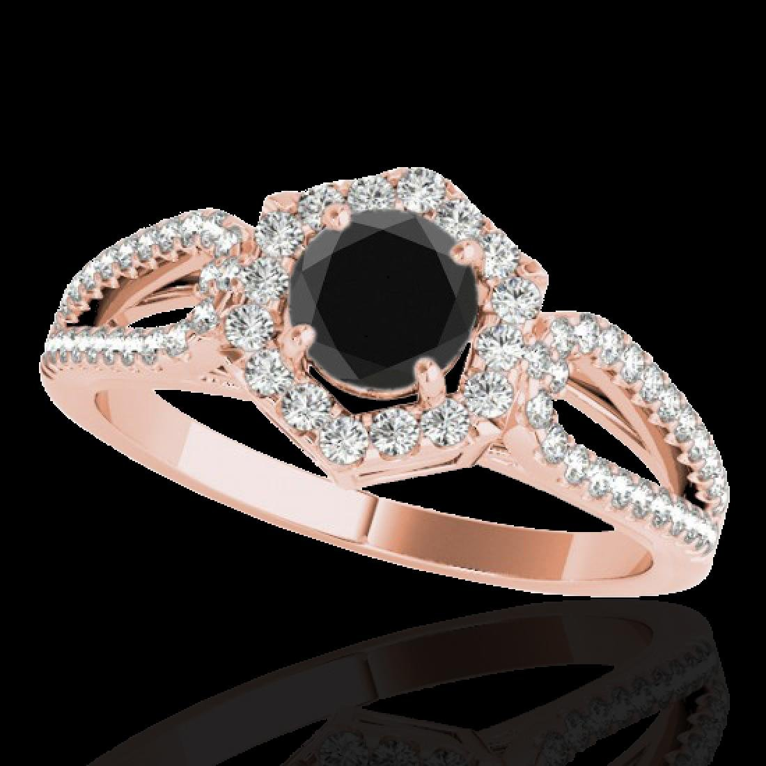 1.43 CTW Certified VS Black Diamond Solitaire Halo Ring