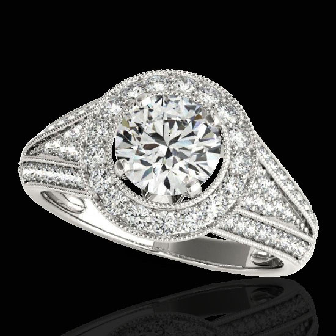 2.17 CTW H-SI/I Certified Diamond Solitaire Halo Ring