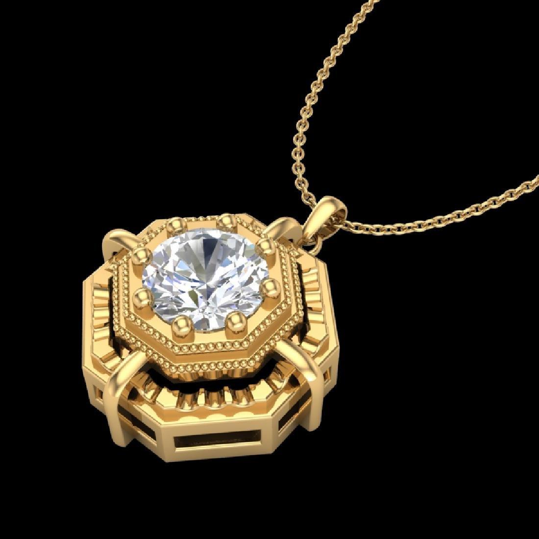 0.75 CTW VS/SI Diamond Art Deco Stud Necklace 18K - 2