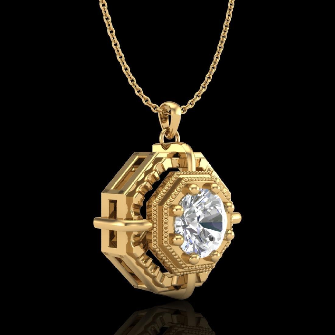 0.75 CTW VS/SI Diamond Art Deco Stud Necklace 18K - 3