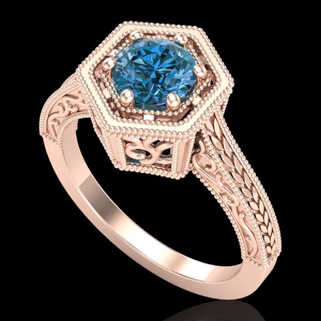 0.77 CTW Fancy Intense Blue Diamond Solitaire Art Deco