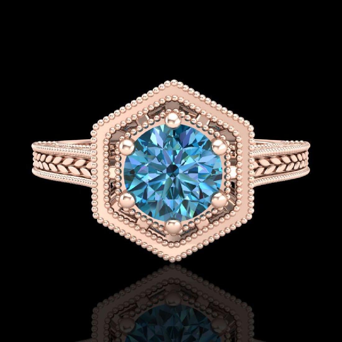 0.77 CTW Fancy Intense Blue Diamond Solitaire Art Deco - 2