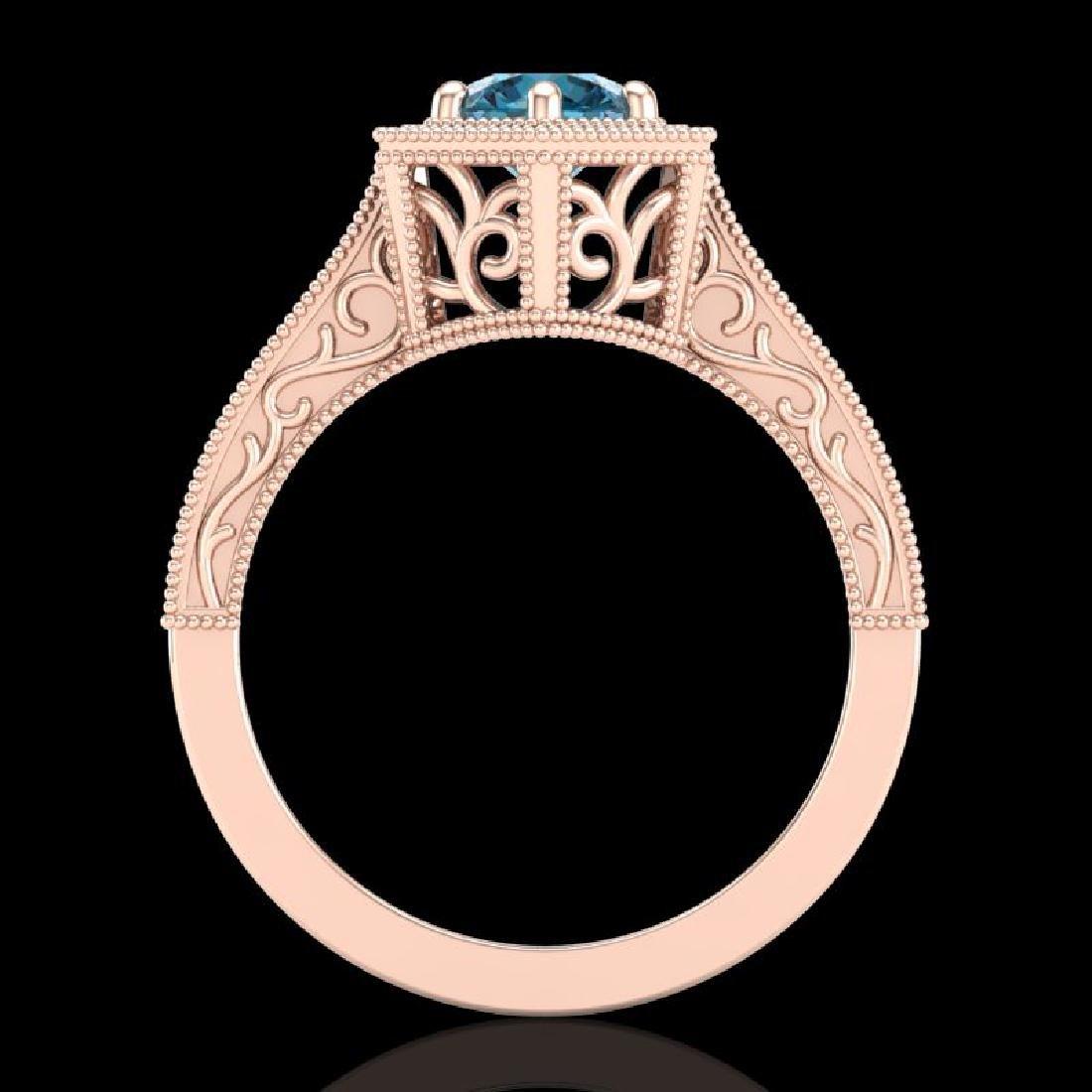 0.77 CTW Fancy Intense Blue Diamond Solitaire Art Deco - 3