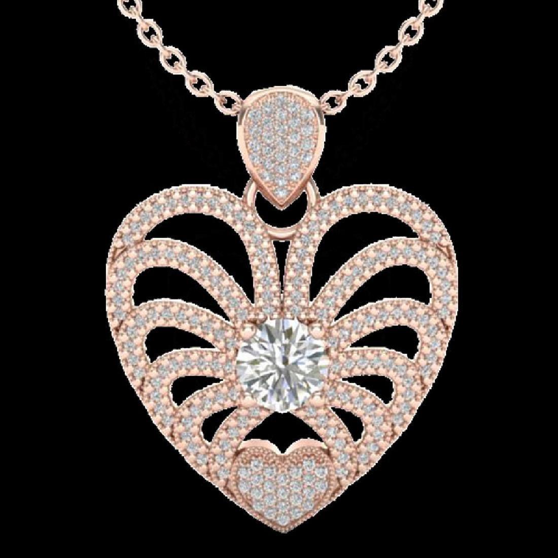 3 CTW Micro Pave VS/SI Diamond Heart Necklace 14K Rose