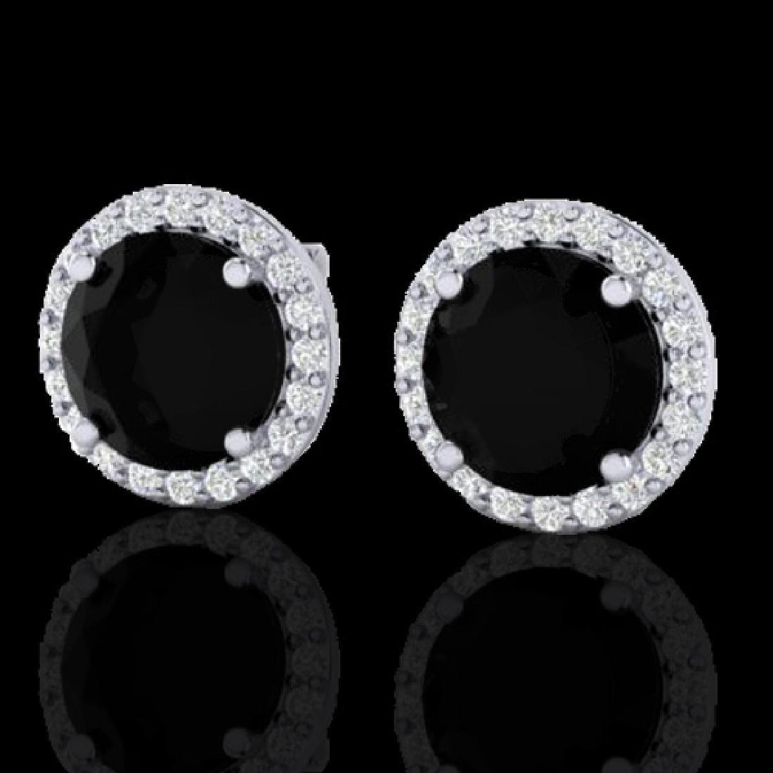 4 CTW Halo Black VS/SI Diamond Micro Pave Earrings 18K