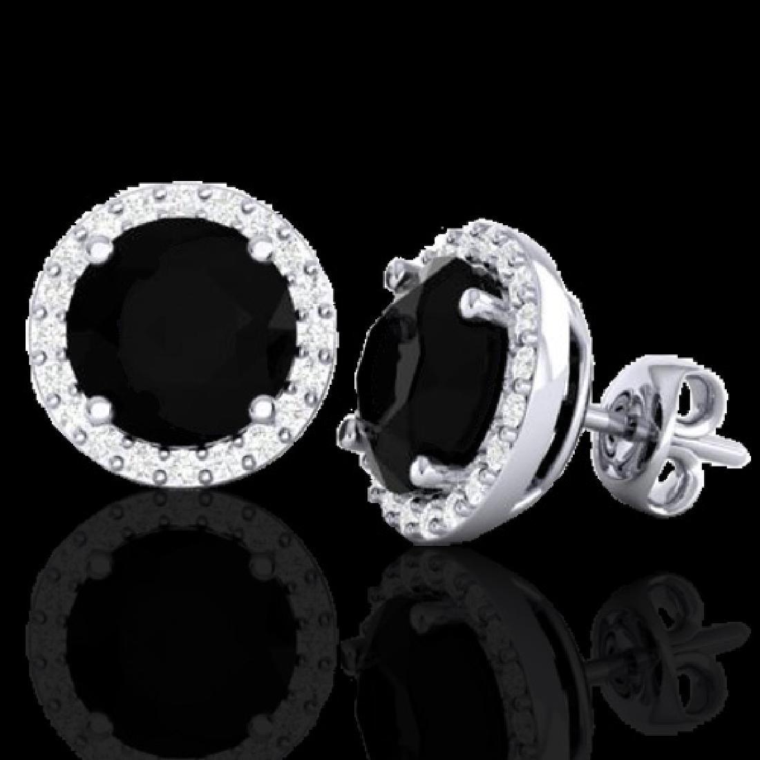 4 CTW Halo Black VS/SI Diamond Micro Pave Earrings 18K - 2