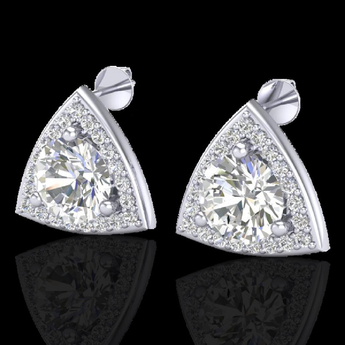 3 CTW Micro Pave Halo VS/SI Diamond Stud Earrings 18K