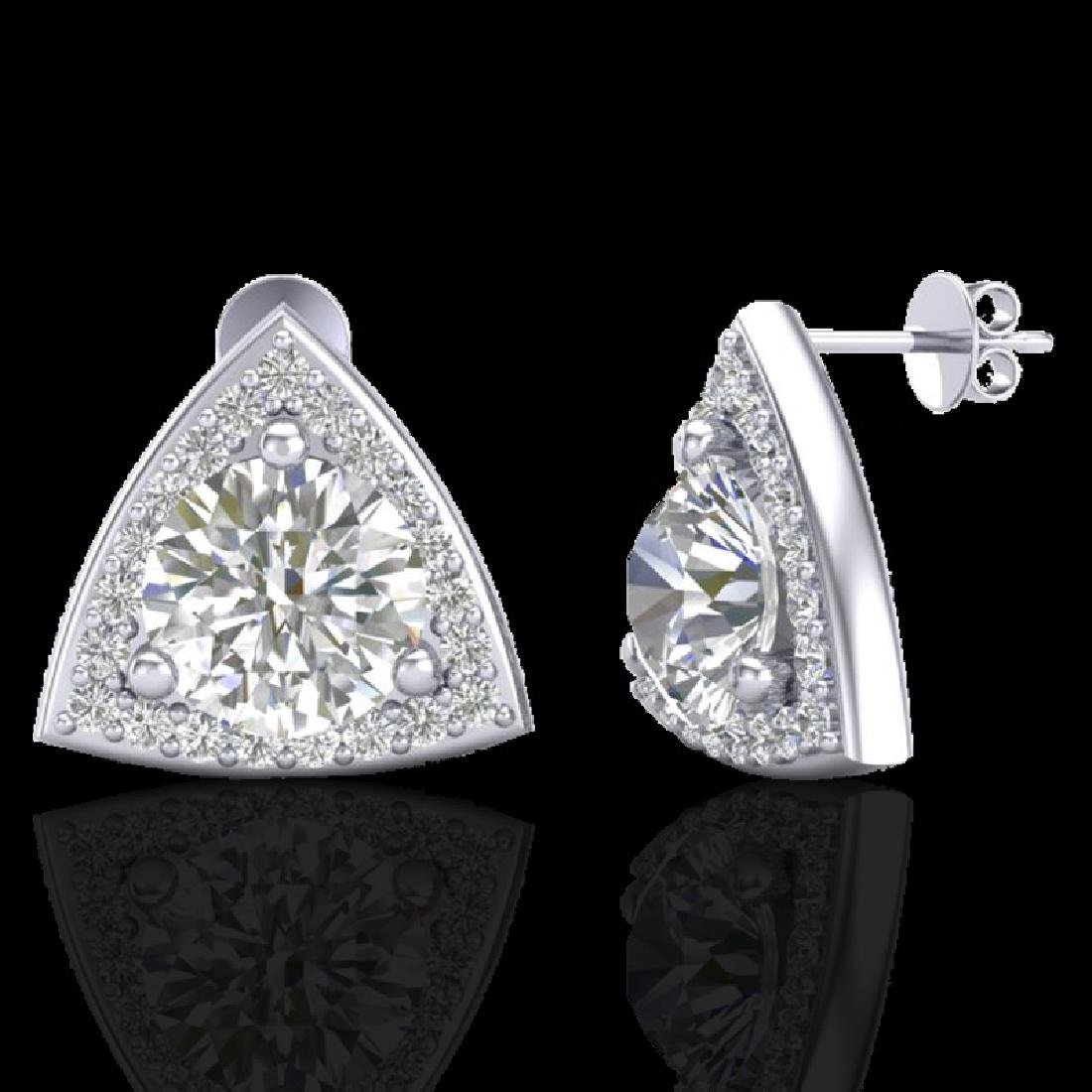 3 CTW Micro Pave Halo VS/SI Diamond Stud Earrings 18K - 2