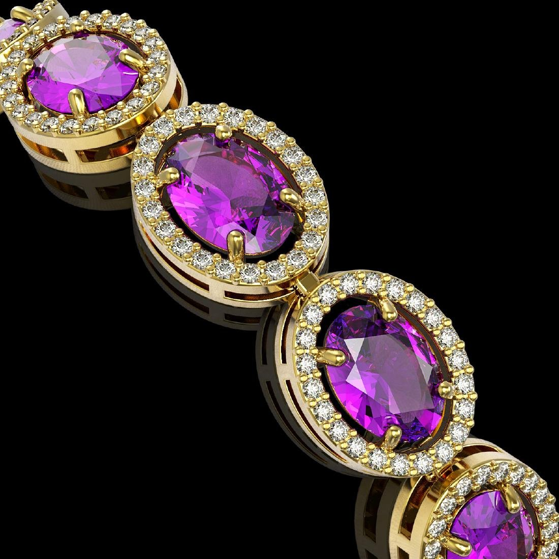 19.82 CTW Amethyst & Diamond Halo Bracelet 10K Yellow - 3