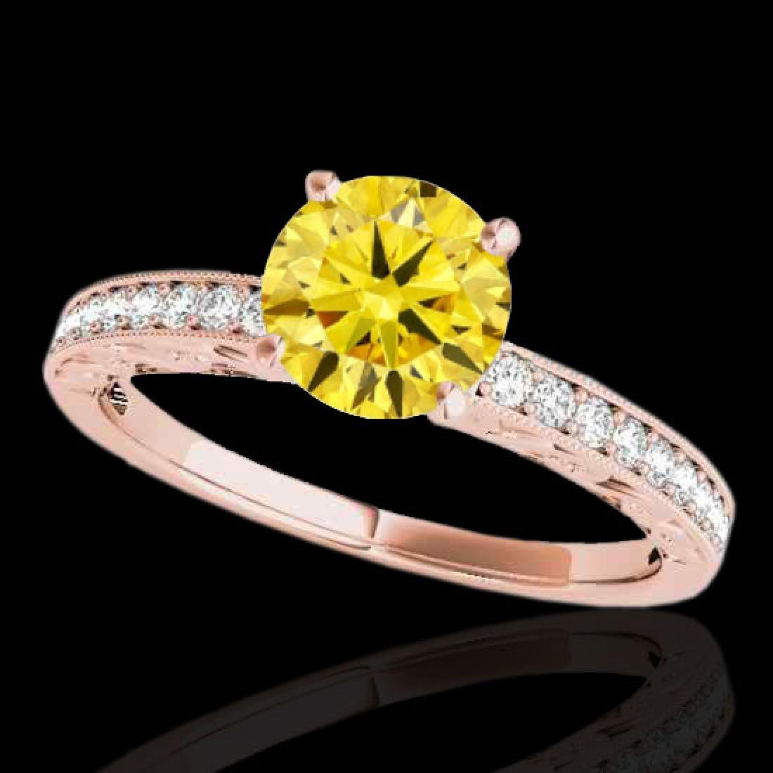 1.18 CTW Certified Si Intense Yellow Diamond Solitaire