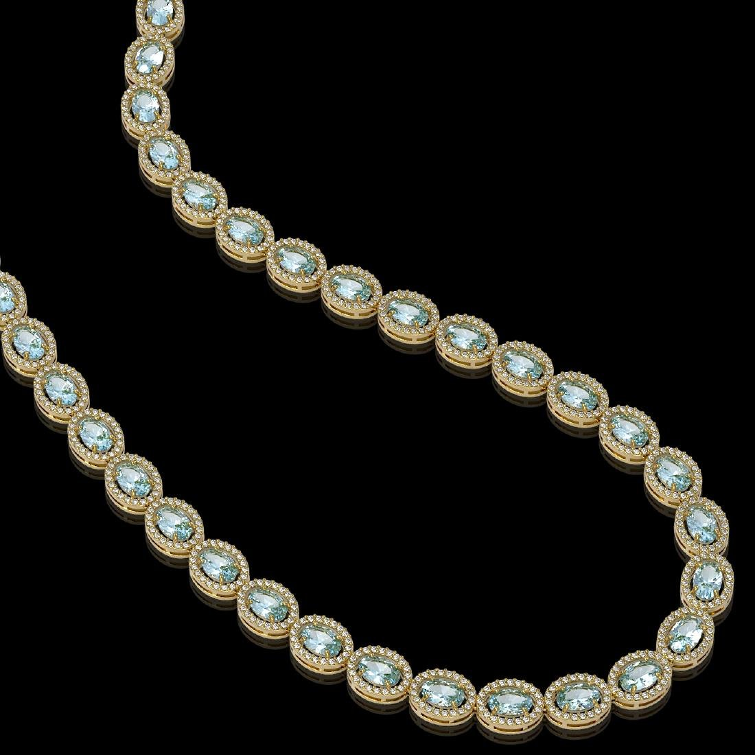 33.25 CTW Sky Topaz & Diamond Halo Necklace 10K Yellow - 2