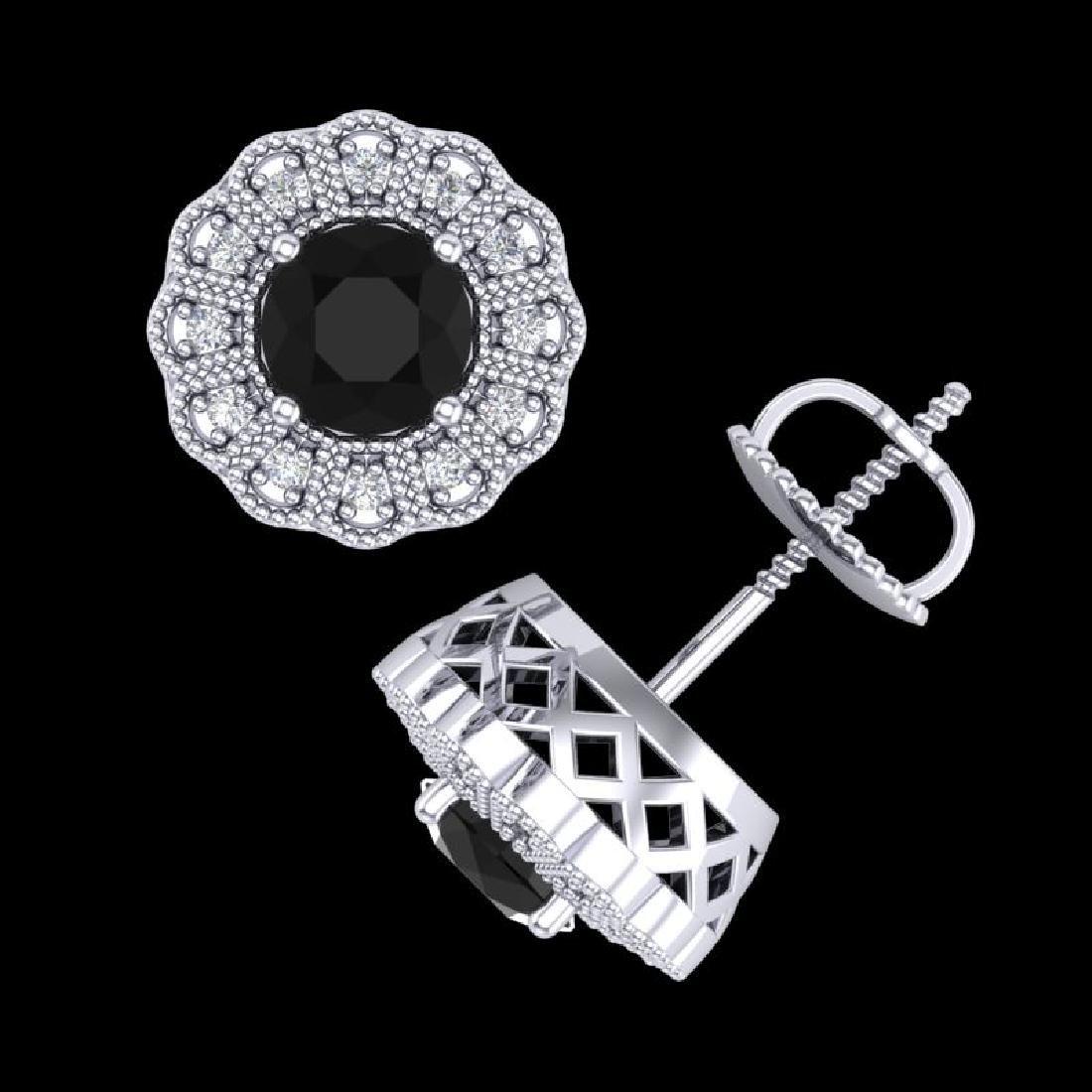 1.32 CTW Fancy Black Diamond Solitaire Art Deco Stud - 3
