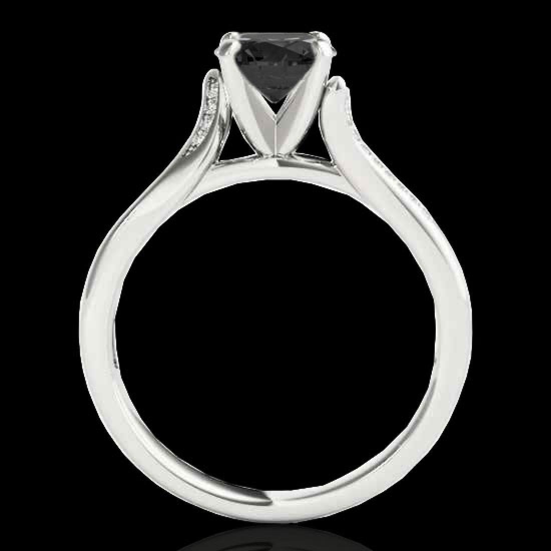 1.18 CTW Certified VS Black Diamond Solitaire Ring 10K - 2