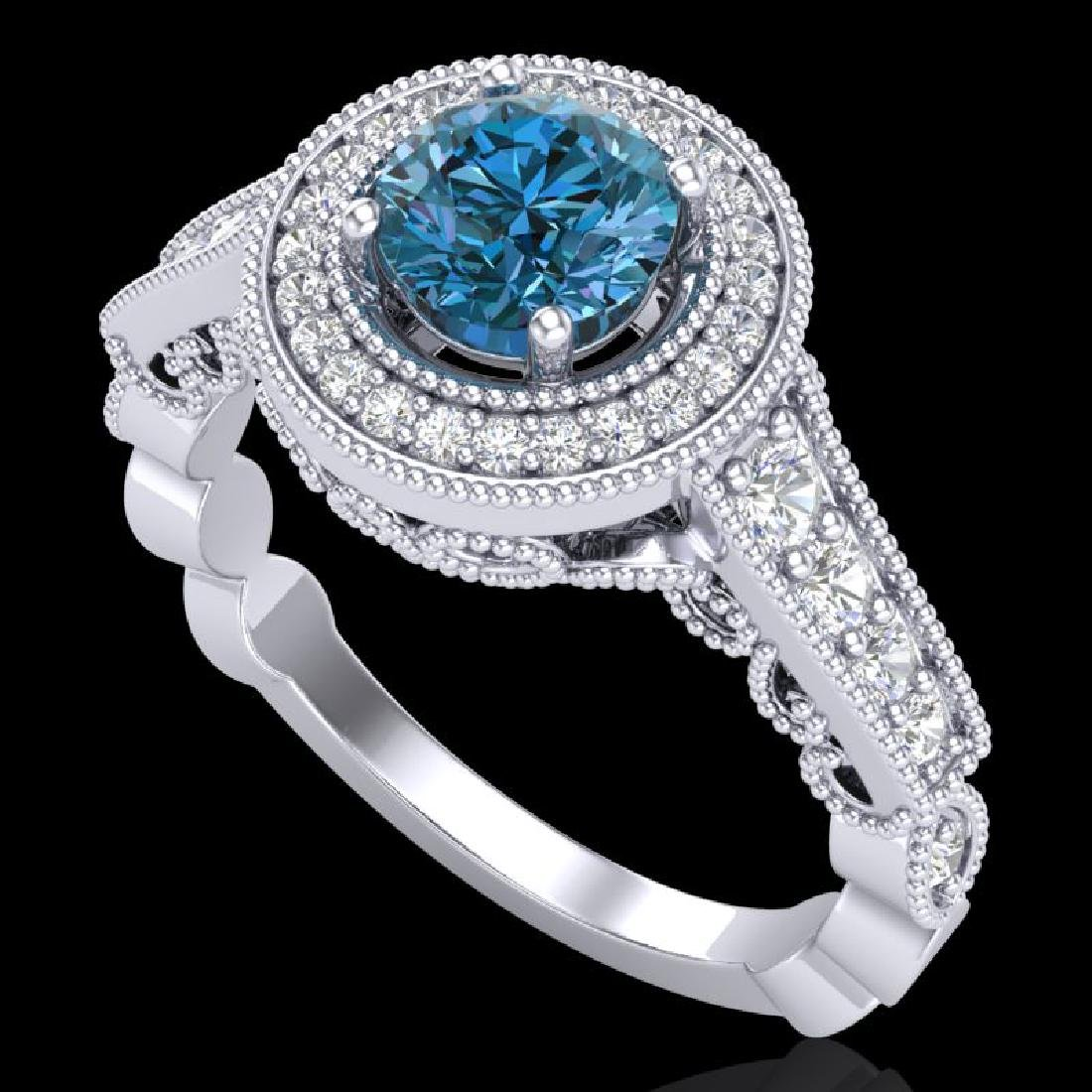 1.12 CTW Fancy Intense Blue Diamond Solitaire Art Deco