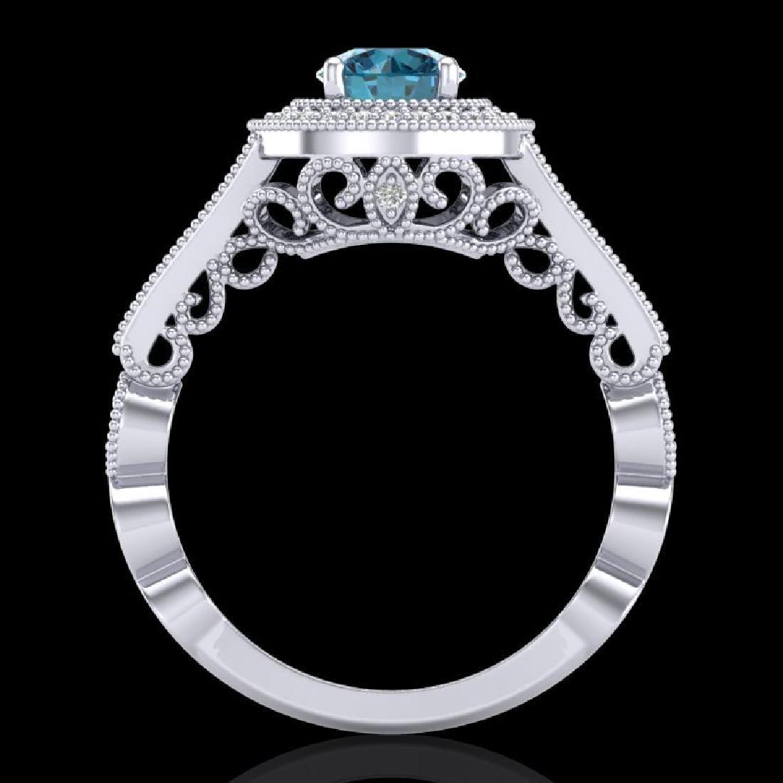 1.12 CTW Fancy Intense Blue Diamond Solitaire Art Deco - 3