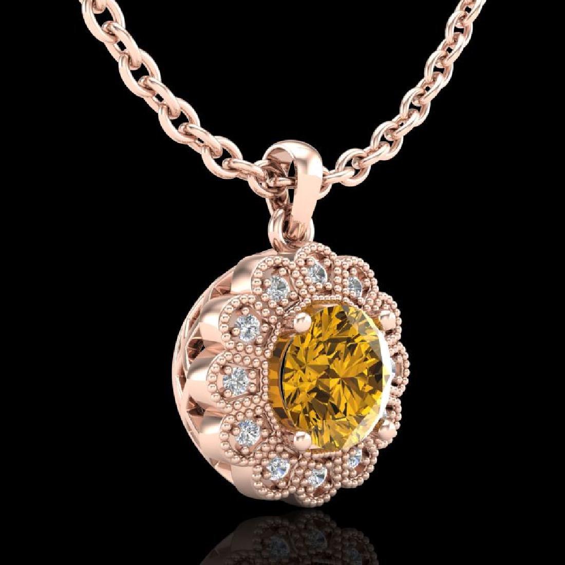 1.15 CTW Intense Fancy Yellow Diamond Art Deco Stud - 3