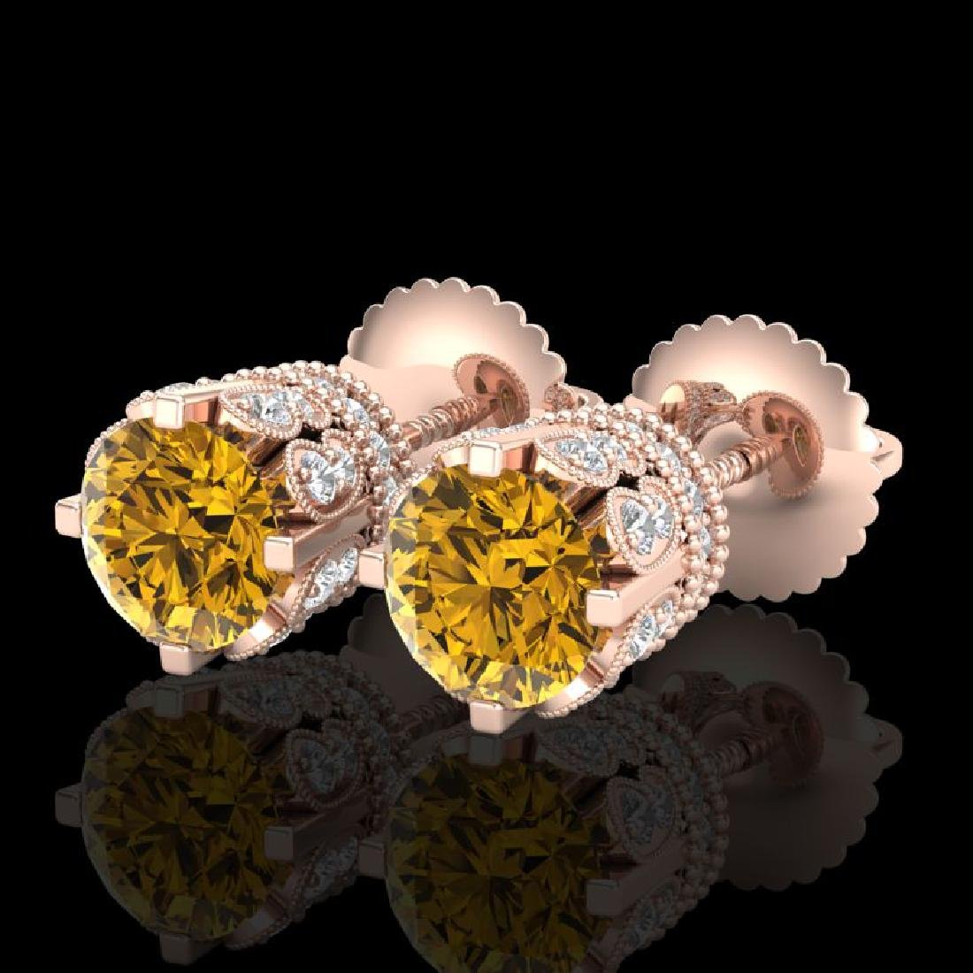 3 CTW Intense Fancy Yellow Diamond Art Deco Stud