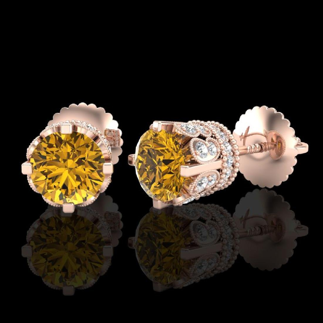 3 CTW Intense Fancy Yellow Diamond Art Deco Stud - 2