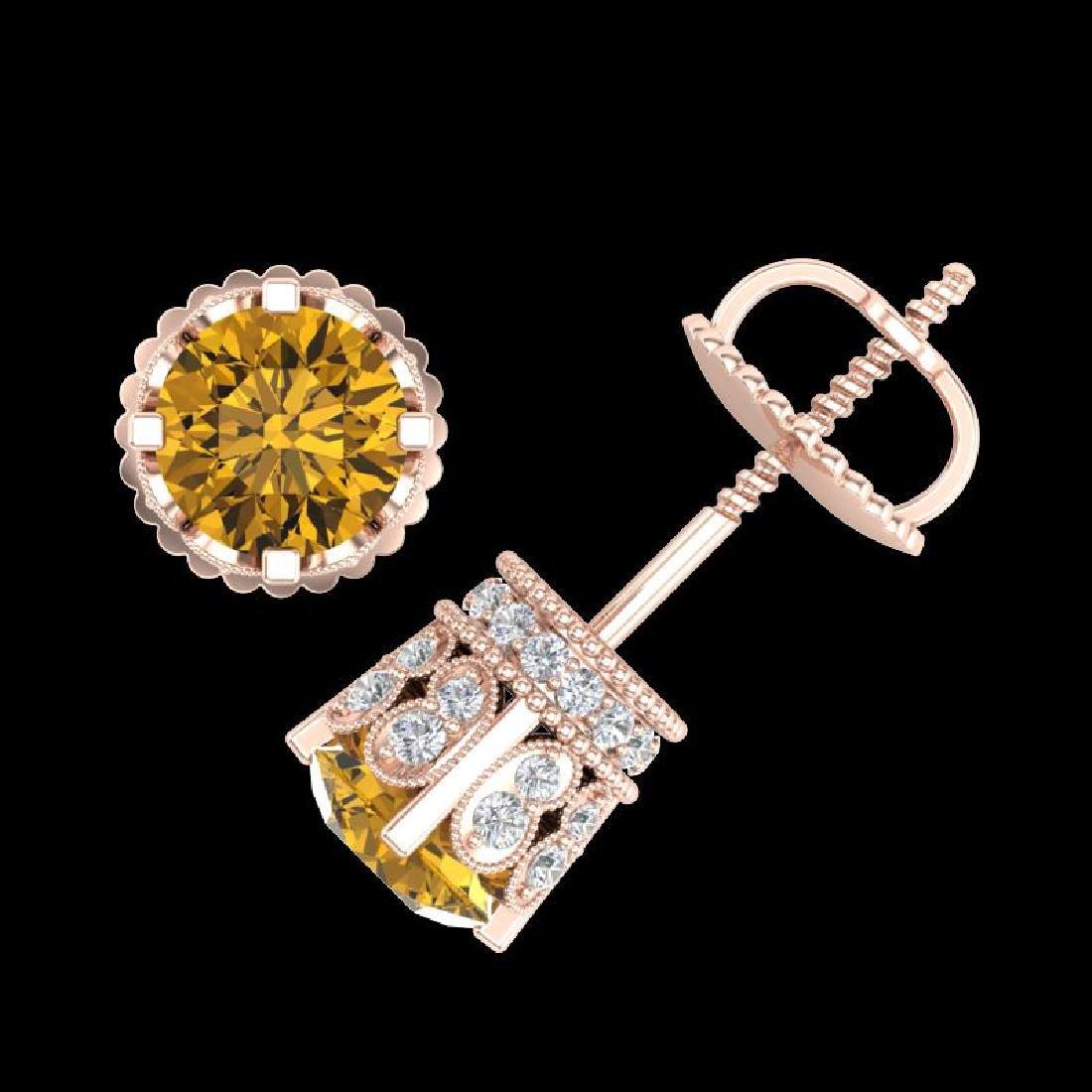 3 CTW Intense Fancy Yellow Diamond Art Deco Stud - 3