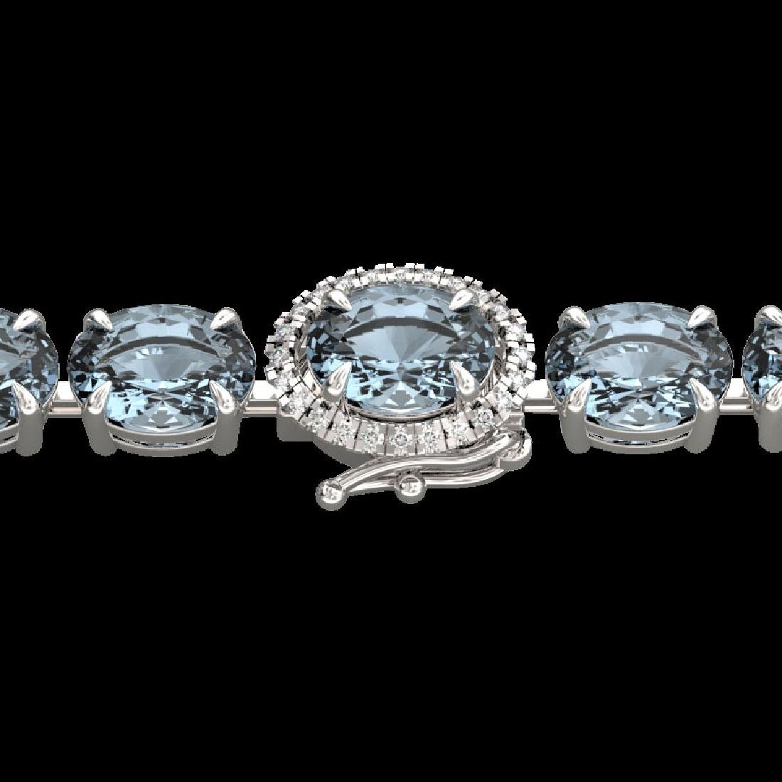 36 CTW Sky Blue Topaz & VS/SI Diamond Tennis Micro Halo