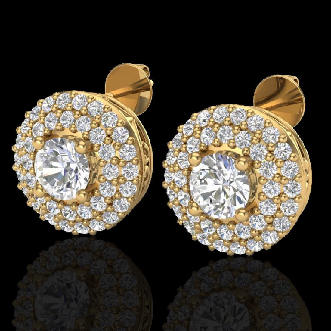 1.20 CTW Micro Pave VS/SI Diamond Earrings 18K Yellow
