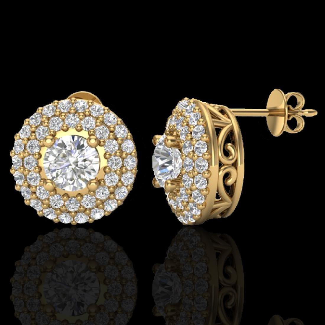 1.20 CTW Micro Pave VS/SI Diamond Earrings 18K Yellow - 2