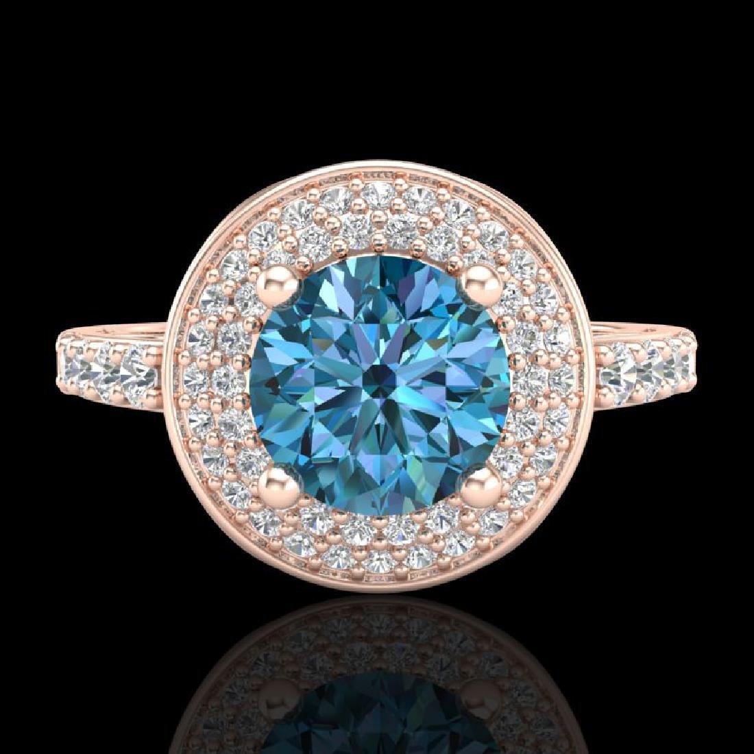 1.7 CTW Intense Blue Diamond Solitaire Engagement Art - 2