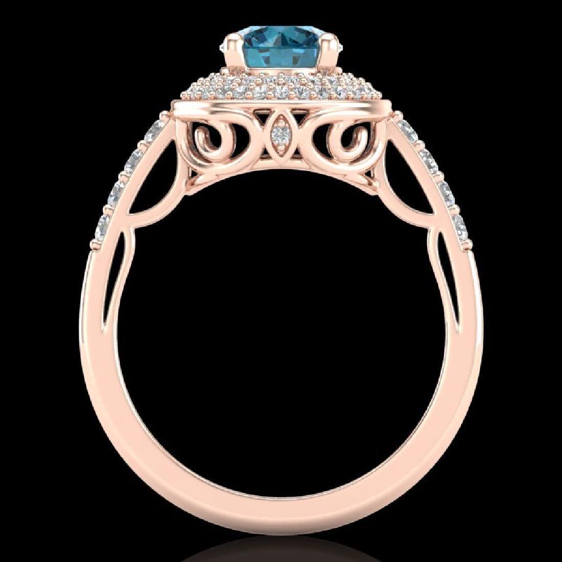 1.7 CTW Intense Blue Diamond Solitaire Engagement Art - 3