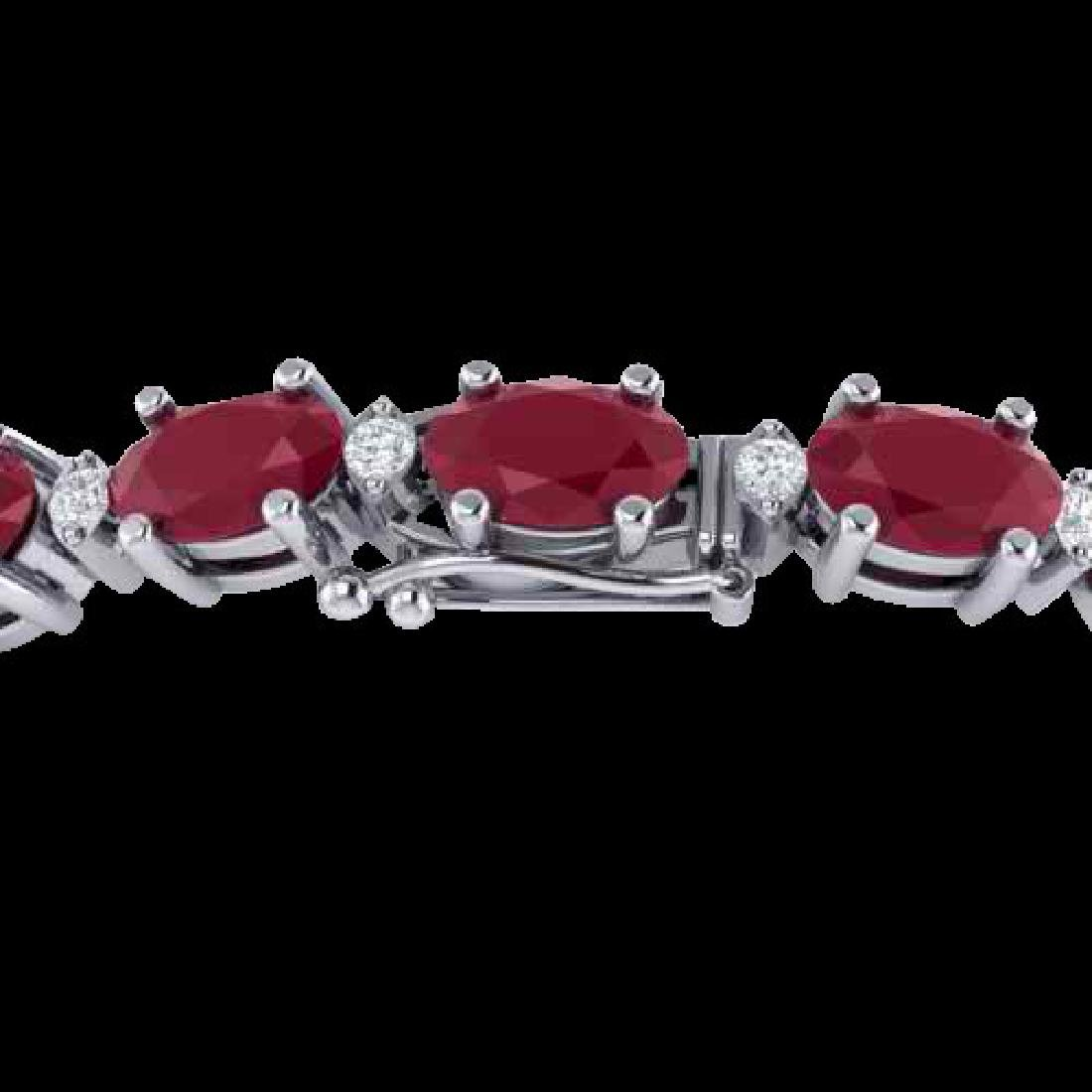 15 CTW Ruby & VS/SI Diamond Eternity Bracelet 10K White