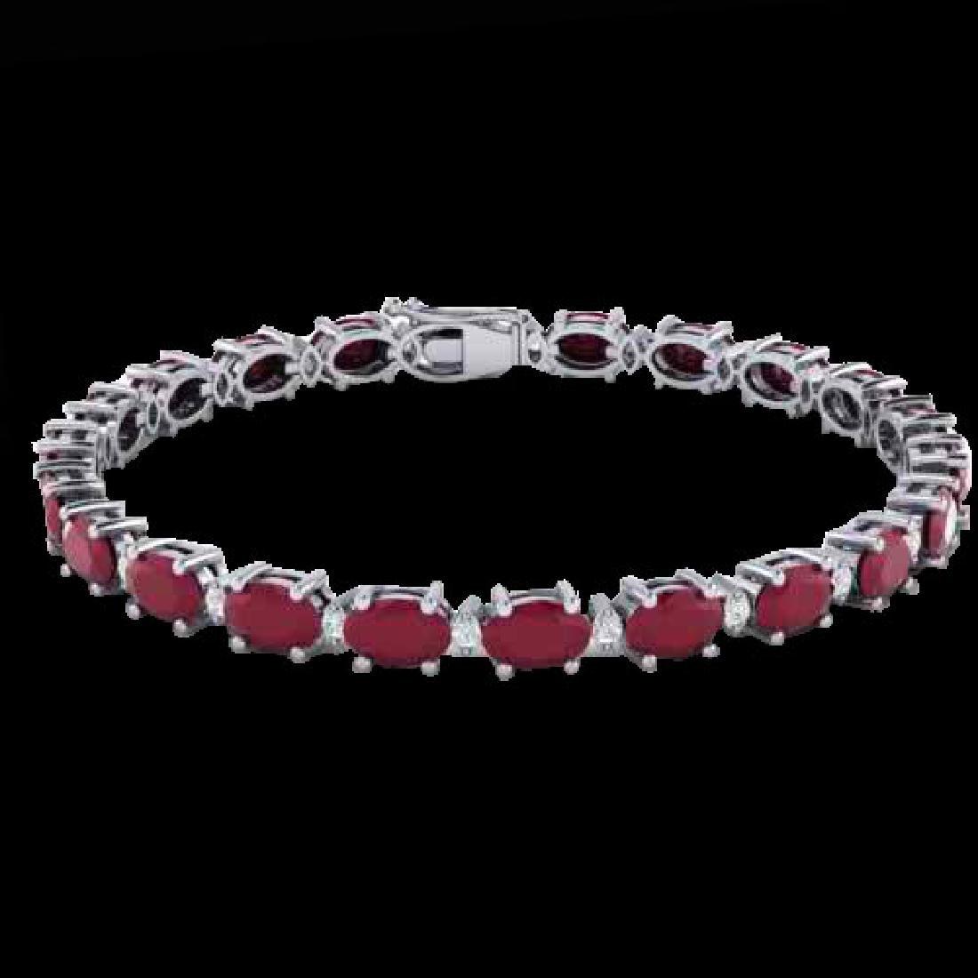 15 CTW Ruby & VS/SI Diamond Eternity Bracelet 10K White - 2