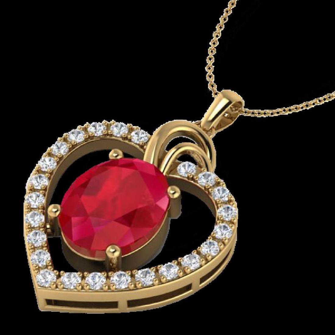 4 CTW Ruby & VS/SI Diamond Designer Heart Necklace 14K - 2