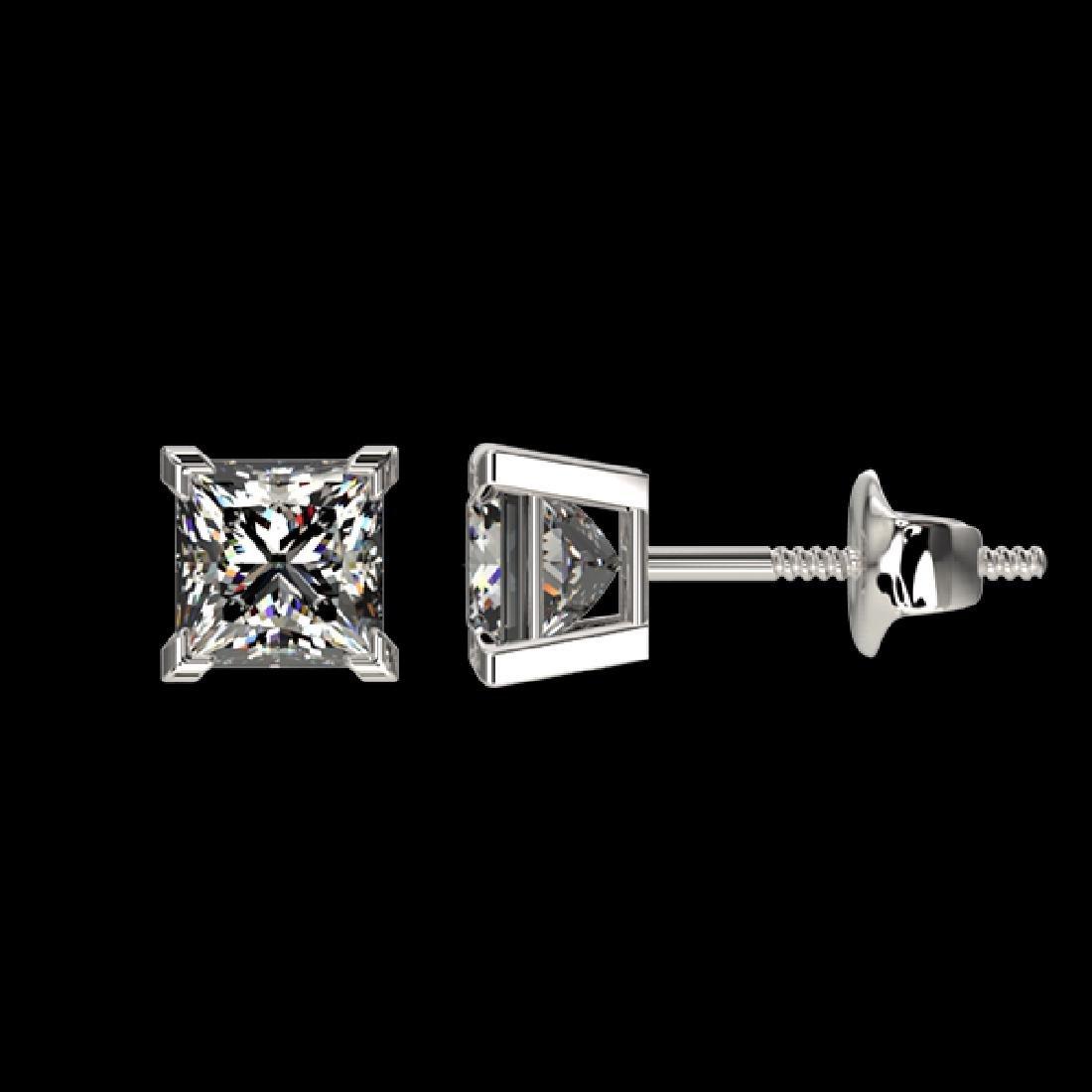1 CTW Certified VS/SI Quality Princess Diamond Stud - 2