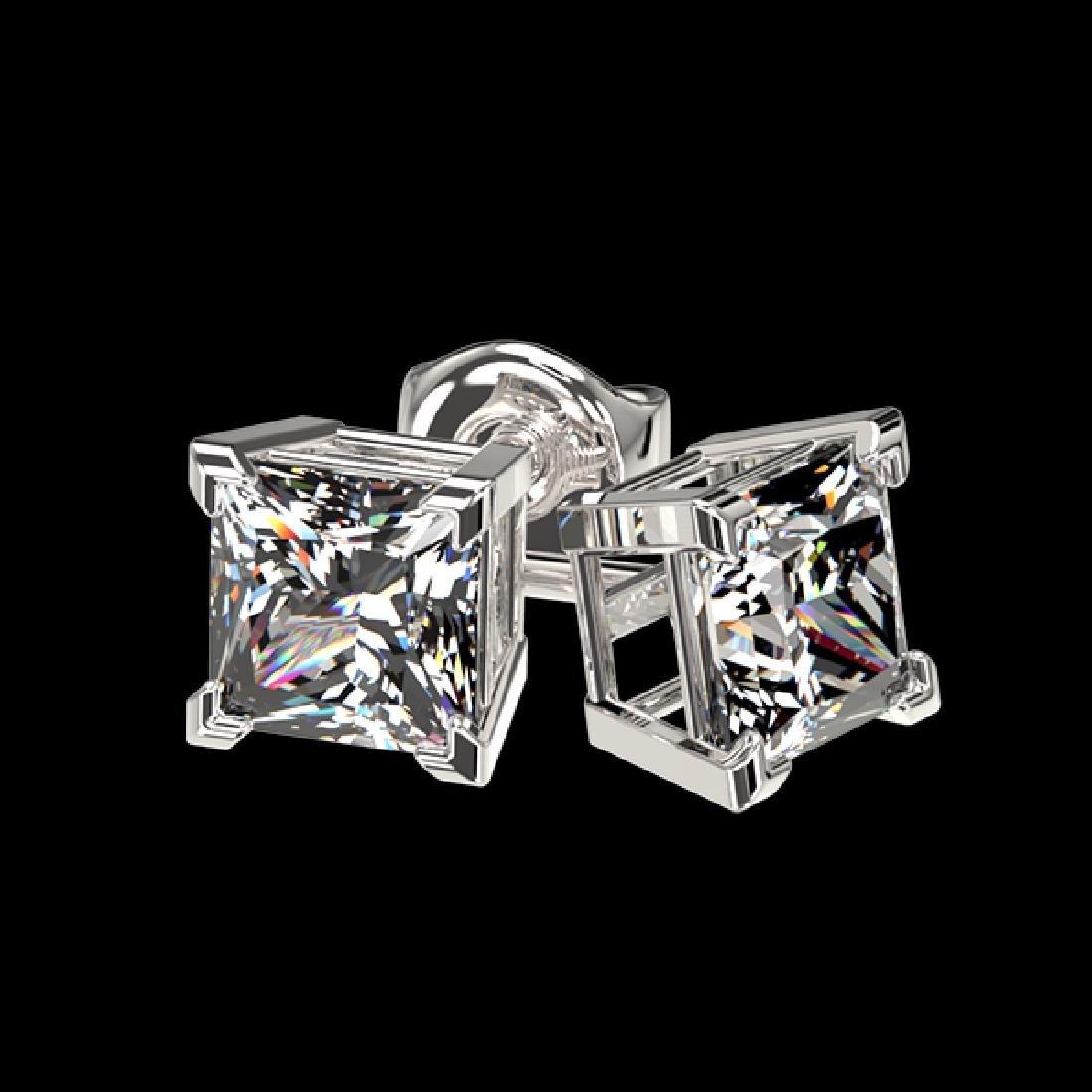 1 CTW Certified VS/SI Quality Princess Diamond Stud - 3