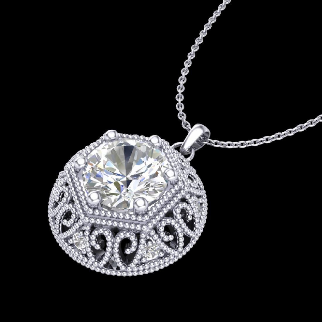 1.11 CTW VS/SI Diamond Solitaire Art Deco Stud Necklace - 2