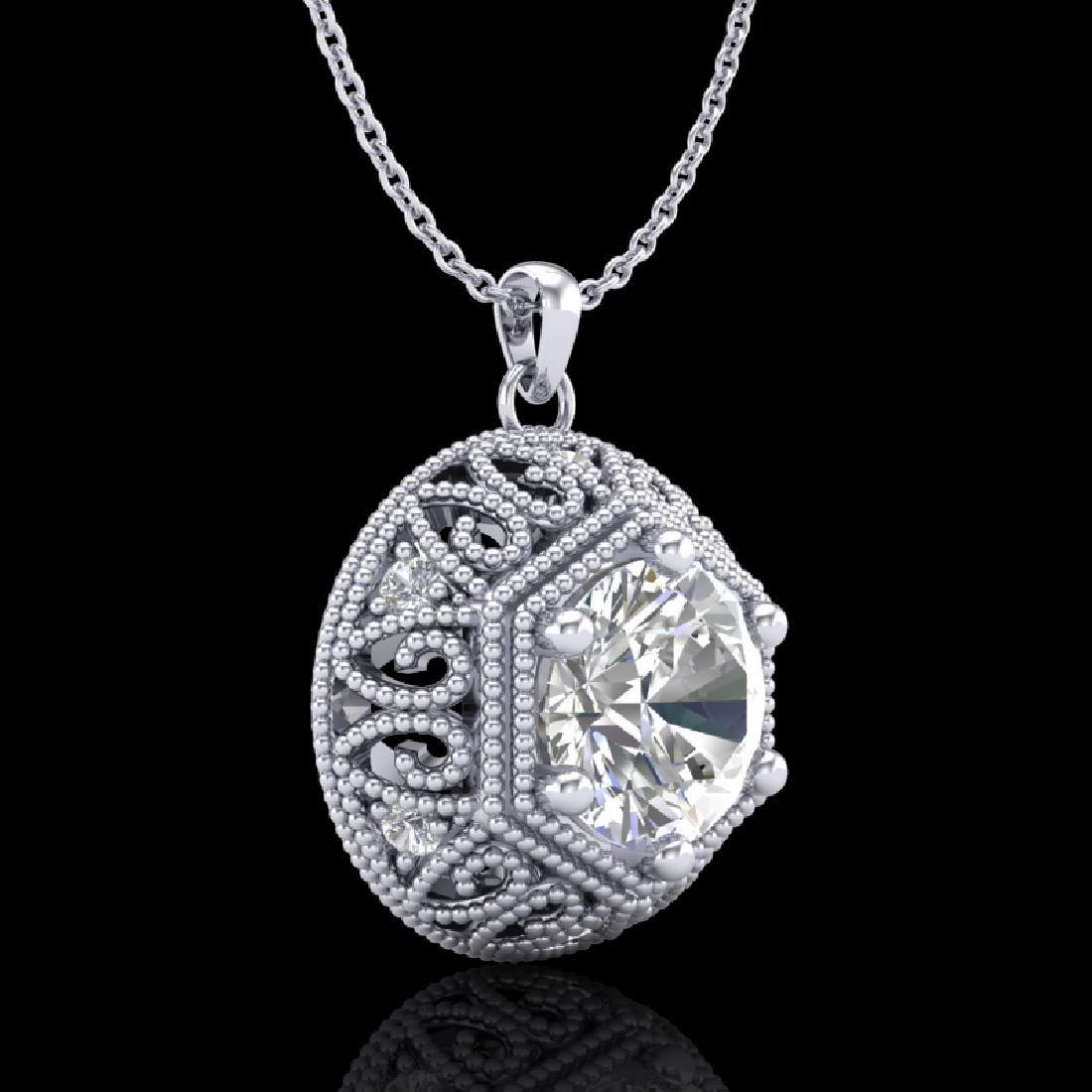 1.11 CTW VS/SI Diamond Solitaire Art Deco Stud Necklace - 3