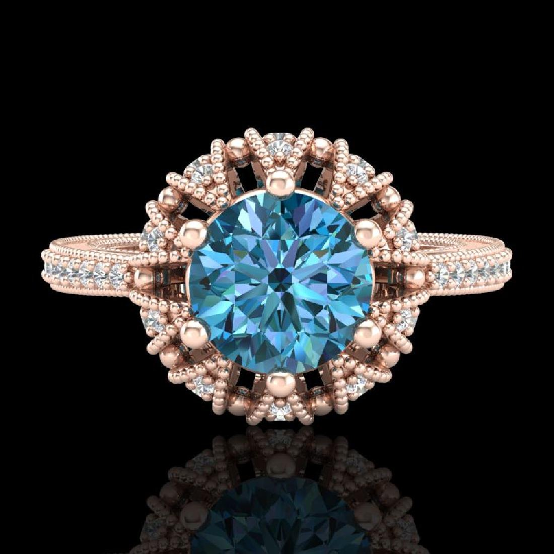 1.65 CTW Fancy Intense Blue Diamond Engagement Art Deco - 2