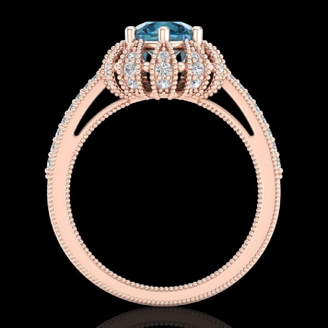 1.65 CTW Fancy Intense Blue Diamond Engagement Art Deco - 3