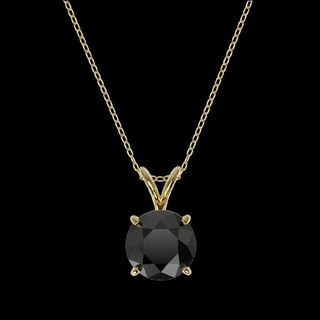 1.59 CTW Fancy Black VS Diamond Solitaire Necklace 10K - 3